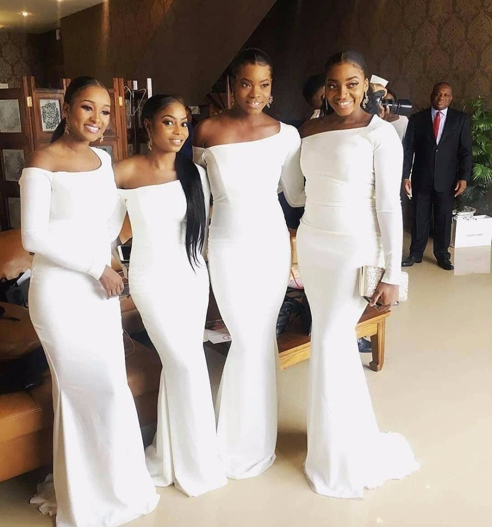 White Mermaid 2018 Bridesmaid Dresses Off Shoulder Long Sleeves ...