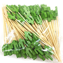 100pcs Disposable Cactus Bamboo Fork Party Buffet Fruit Desserts Food Cocktail Sticks Sandwich Tableware Pick Skewer Party Decor цена
