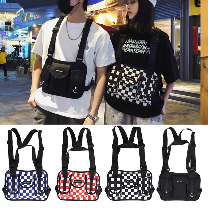 Fashion Hip Hop Lattice Waist Belt Pack Casual Women Men Sports Vest Chest Rig Bags Unisex Tactical Chest Rig Vest Wait Packs Bu