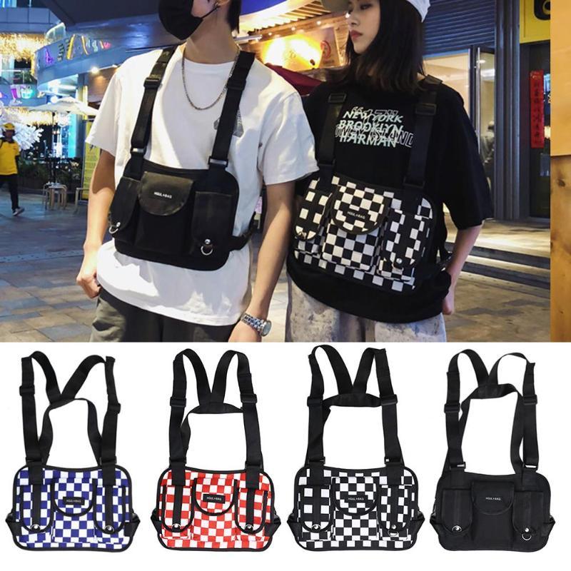 Fashion Hip Hop Lattice Waist Belt Pack Casual Women Men Sports Vest Chest Rig Bags Unisex Tactical Chest Rig Vest Wait Packs Bu