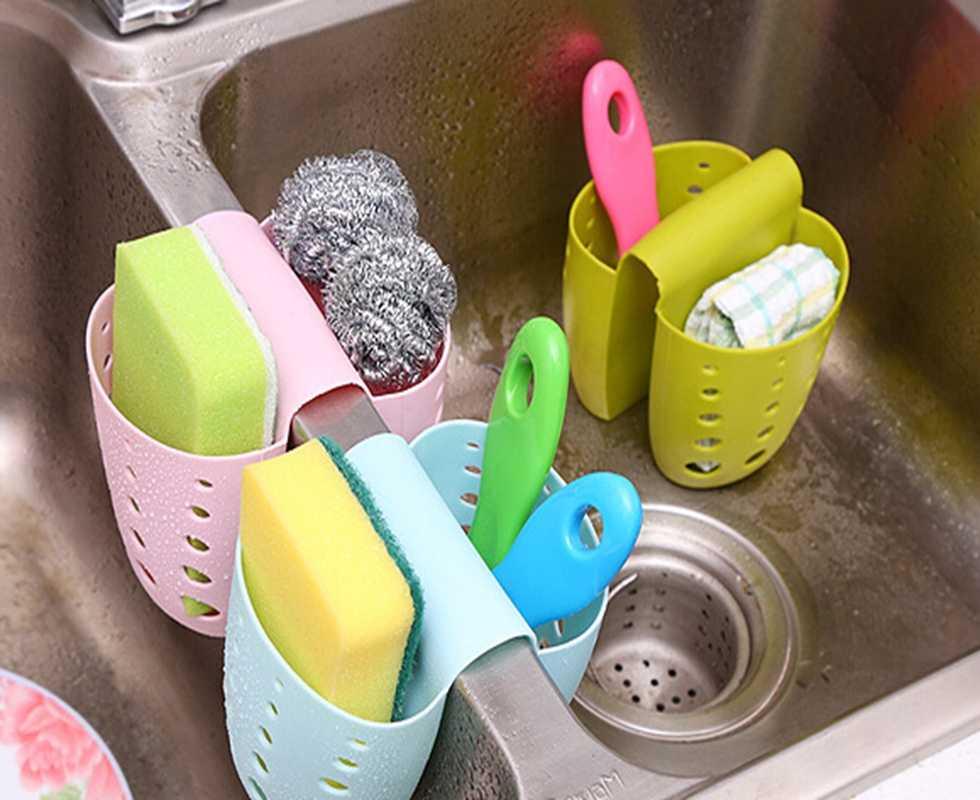 250pcs/lot Fast shipping Kitchen Sink Sponge Holder Bathroom Soap Hanging  Shelving Rack Drain Faucet Storage Pail Shelves