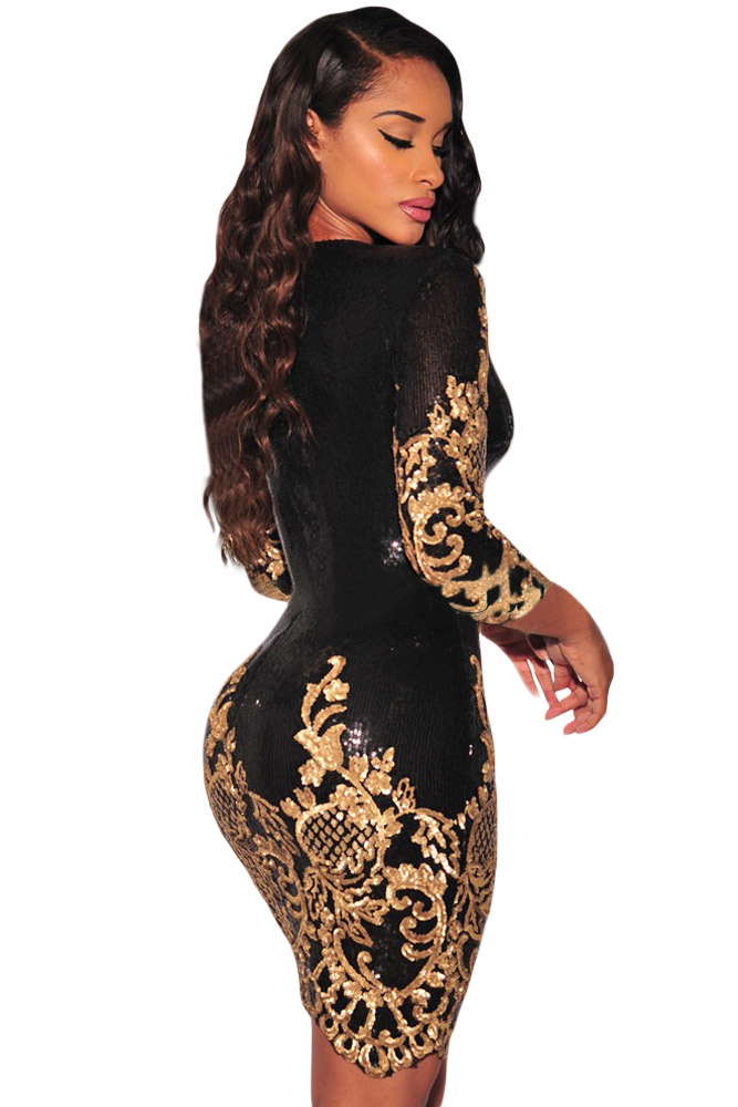 2018 New Autumn Women s Sexy Black Victorian Gold Silver Sequins 3 4  Sleeves Bodycon Dress LGY22794-in Dresses from Women s Clothing on  Aliexpress.com ... bb3cacdb0b