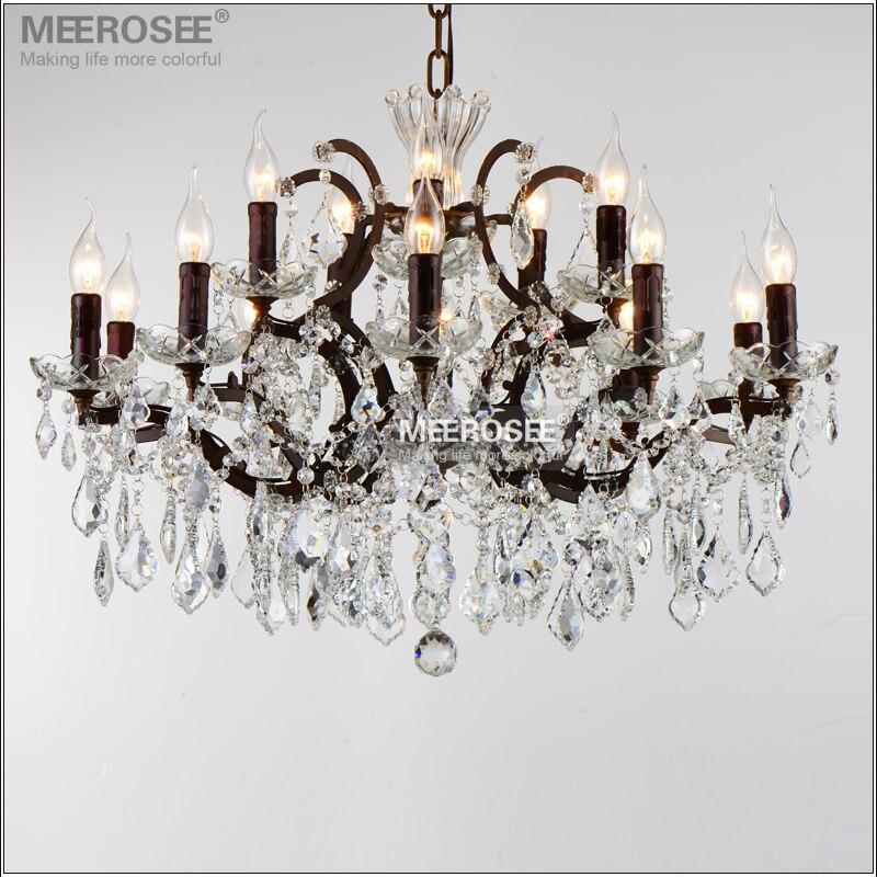 Vintage křišťálový podkrovní lustr světlo Retro rustikální lustry Ligts příslušenství 15 zbraní zavěšení kapesní lampa pro domácí obývací pokoj