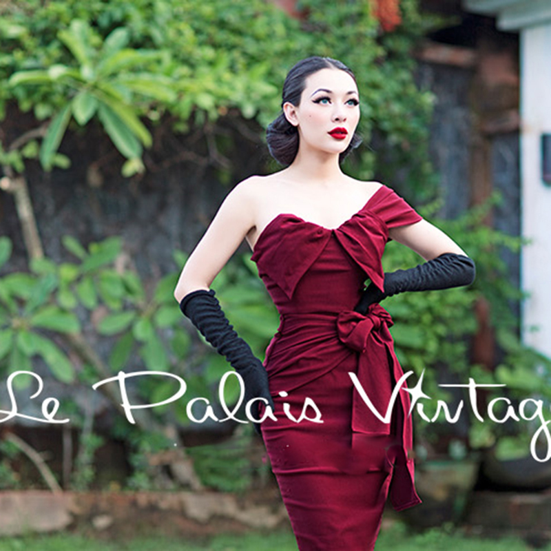 FREE SHIPPING Palais Vintage Le retro sexy wine red irregular fold bow one shoulder tight sheath