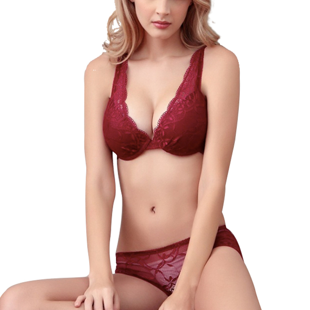 Deep V-Neck Push Up Bra And Panty Lace Bra