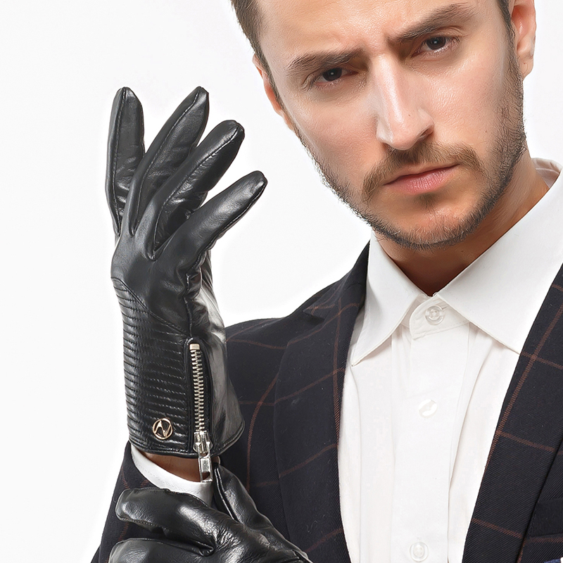 Nappaglo Mens Genuine Nappa Leather Gloves Touchscreen Winter Warm Texting Driving Mittens with Long Fleece Lining