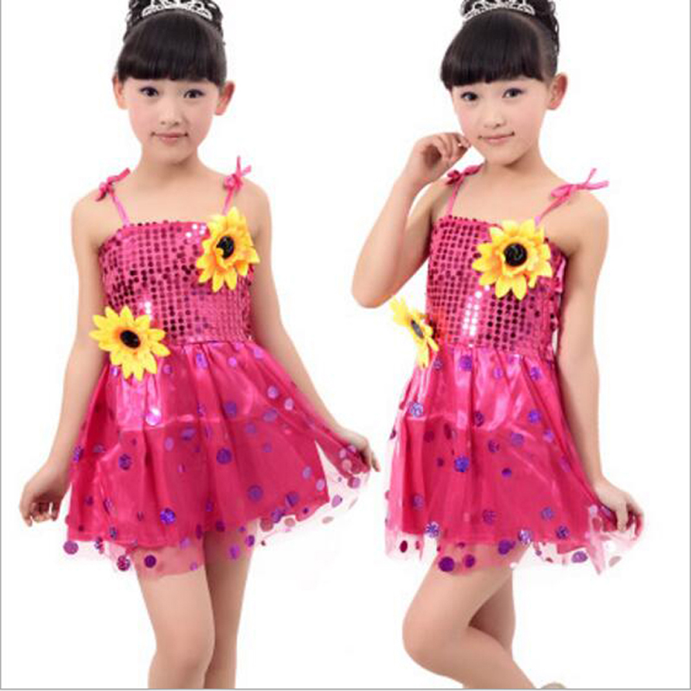 2017 latin dance dress for girls sequined veil tango rumba dance dress children sunflower ballroom dance competition dresses