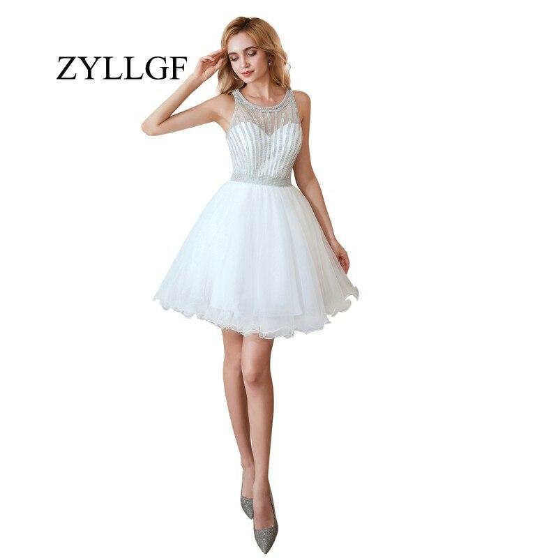 Zyllgf Kurze Weiß Brautjungfer Kleider A-line O Neck Sheer Tüll Hochzeit Party Kleid Abito Damigella Es2