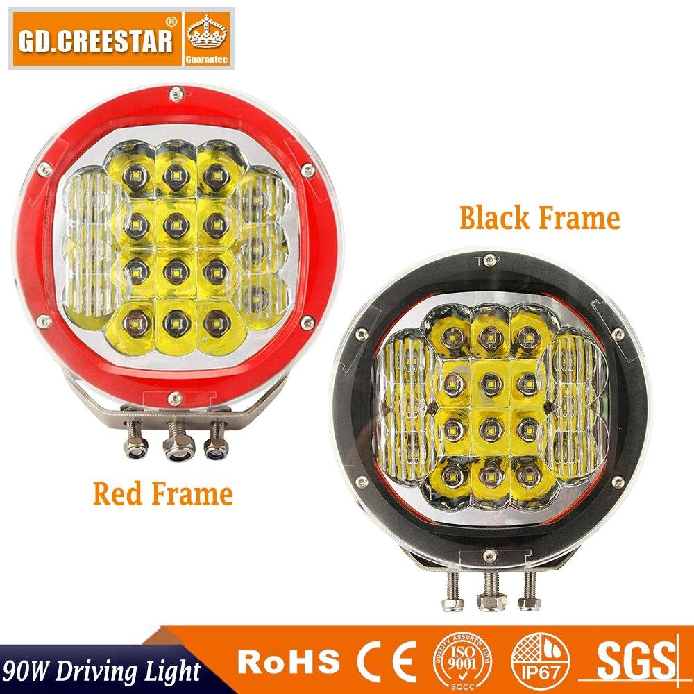7 INCH 90W LED Driving Light Black Red 18leds cree led work light 12V 24V Truck SUV ATV 4WD 4x4 Spot Work Light Spotlight x1pc 2pcs truck light 4 leds lamp