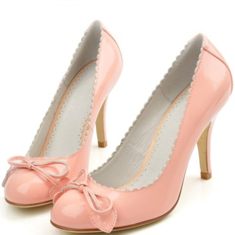 Women Closed Round Toe Bow-Knot Leaf comfortable Fashion full genuine leather high heels Party Bridal Shoes Lady Pumps Pink/Red цена