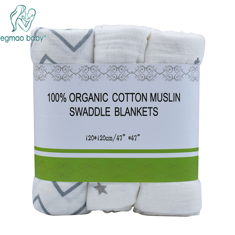 EGMAO Baby Muslin Baby Swaddling Blanket  Wrap Newborn Infant 100% Cotton Swaddle Towels 3 Pcs a Pack 120*120 CM