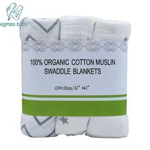 EGMAO Baby Muślin Dziecko Kocyk Wrap Niemowlę 100% Bawełna Ręczniki do Przewijania 3 Sztuk w opakowaniu 120 * 120 CM