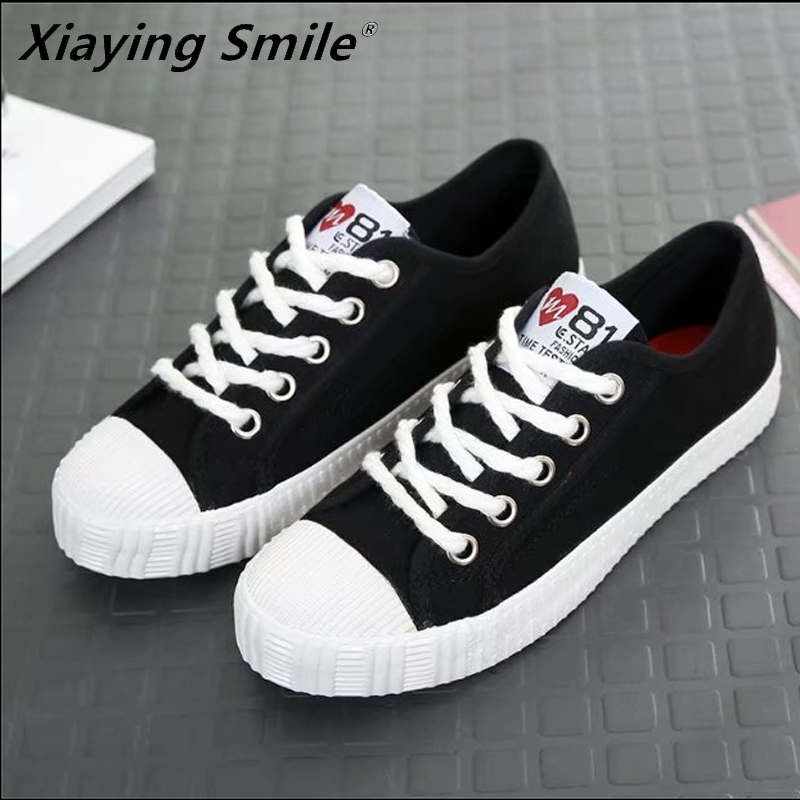 Xiaying Smile Female shoes sneakers women walking shoes breathable canvas lace up ladies White shoes for lady student