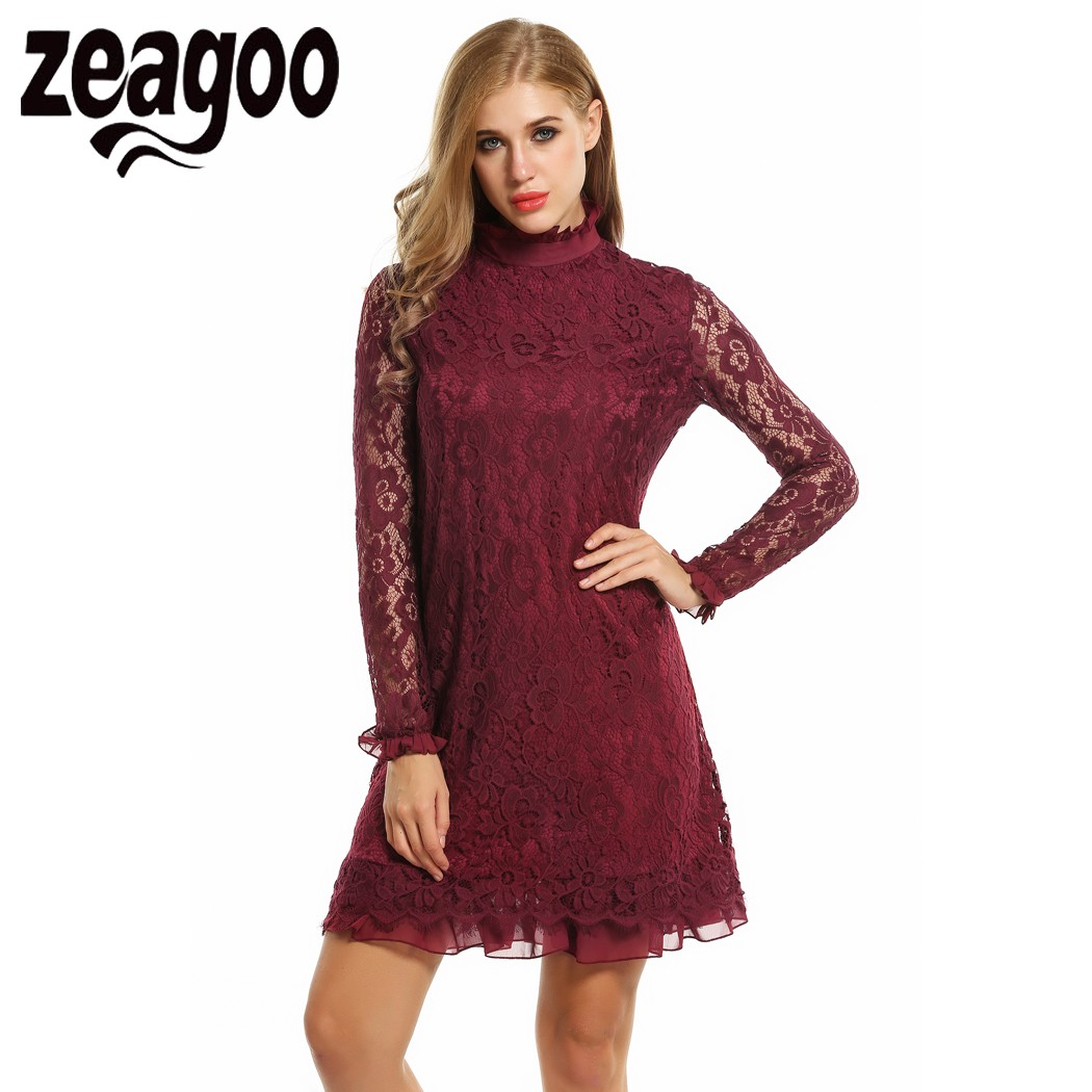 Zeagoo lace dress stand collar long sleeve ruffles cocktail party zeagoo lace dress stand collar long sleeve ruffles cocktail party shift dress autumn elegant solid loose plus size vestidos in dresses from womens clothing ombrellifo Choice Image