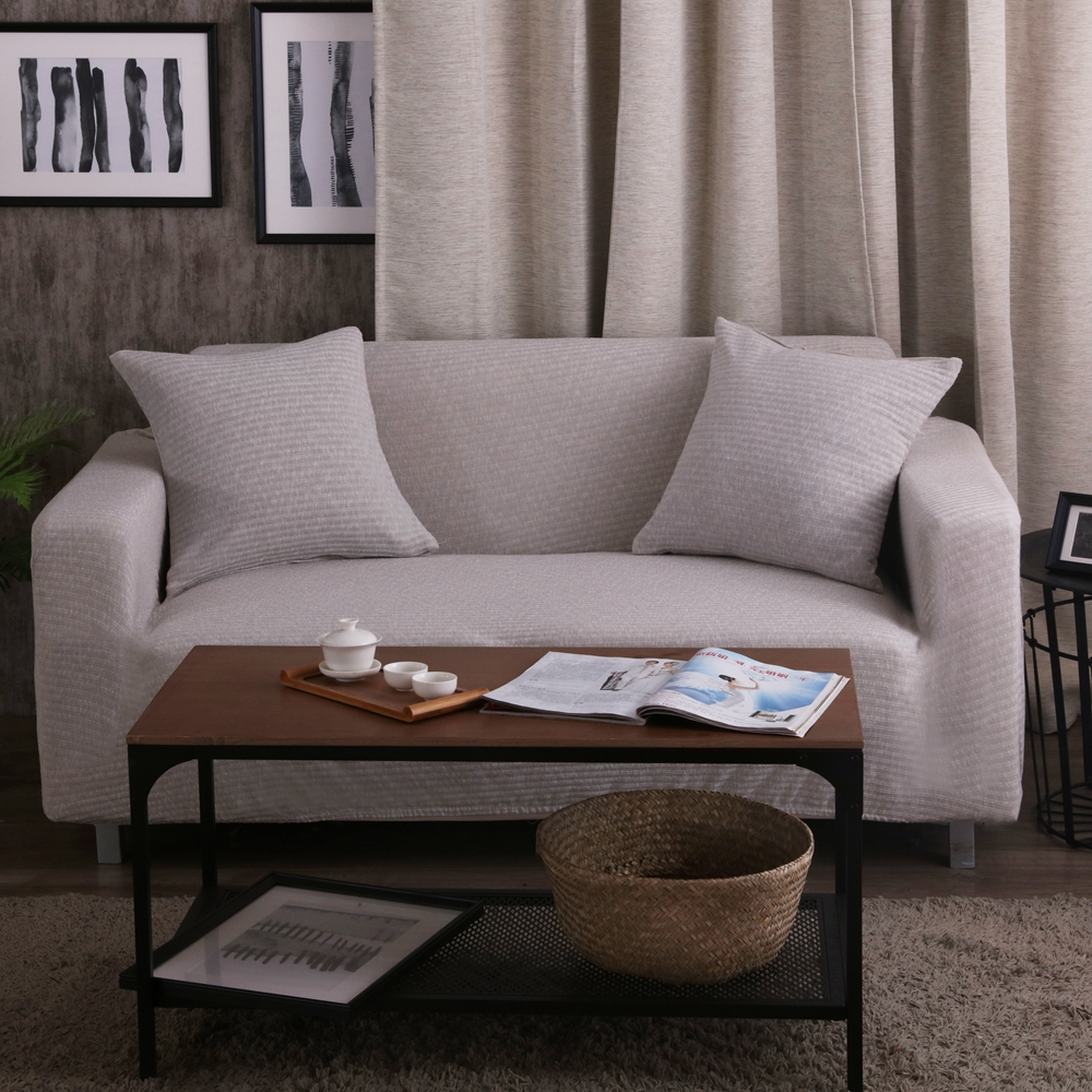 Grey Stretch Sofa Cover Knitted Fabric Universal Corner