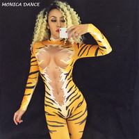 Tiger Queen Nightclub Party Stage Wear Costume for DJ DS Singers Performance Jumpsuit Sparkling Crystals Bodysuit Bling Outfit