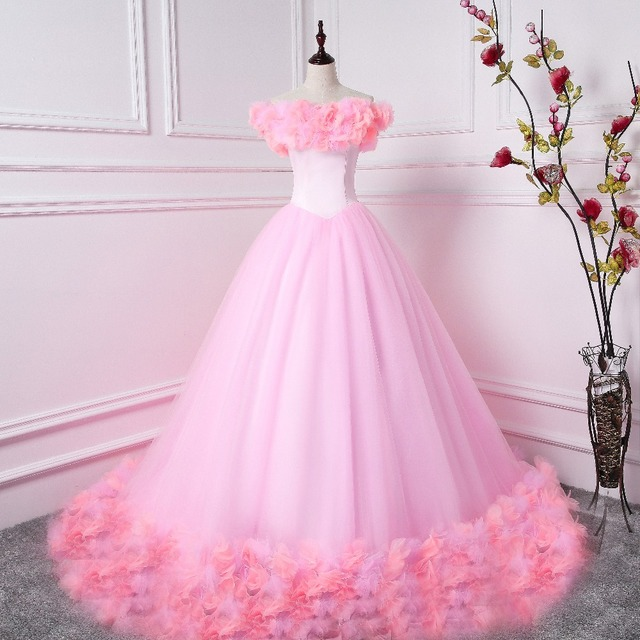 9787f567d2f Pink Ball Gowns Quinceanera Dresses 2017 With 3D Flower Appliqued Off The  Shoulder Vestido Debutante Dress 15 anos Sweet 16 Gow