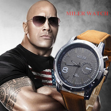 Miler Men Watches Top Brand Fashion Men's Leather Wrist