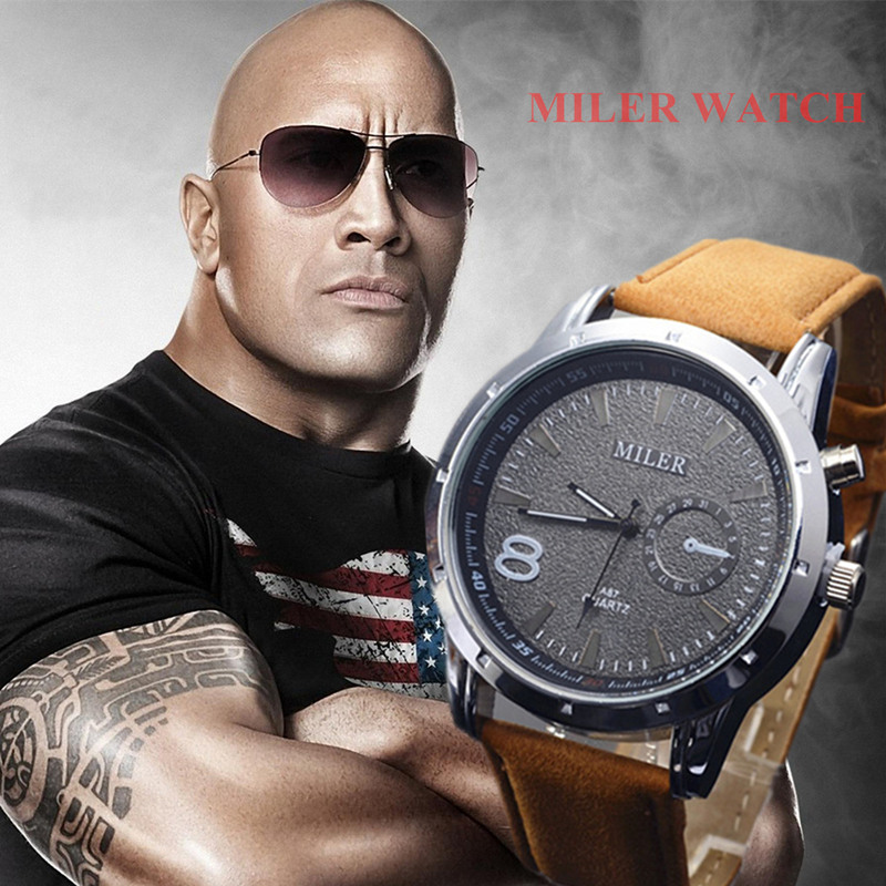 Miler Men Watches Top Brand Fashion Men's Leather Wrist watch Quartz Mens Watch Male Clock relogio masculino erkek kol saati