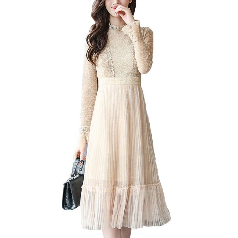 2018 Spring Summer New style Noble Temperament Fashion sexy Waist is Thin Horn Sleeve Lace gauze trend Pleated women dress