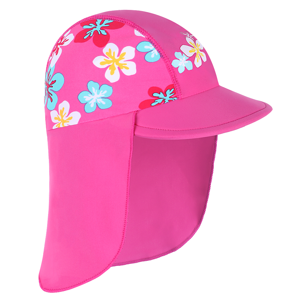 New Cute Blue Small Flowers Sun Hats Children's Beach Caps Kids Flodable Caps With Wide Birm Anti-uv Hats Outdoor Girl Sun Hats