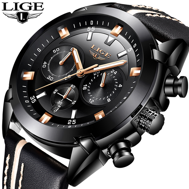 Relojes Hombre 2018 Nuovo LIGE Mens Orologi Top Brand di Lusso Impermeabile 24 ore Data Orologio Al Quarzo Uomo In Pelle Sport Orologio Da Polso + Box