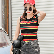 shintimes Tops Mujer Verano 2019 Striped Casual Tank Top Women Ladies Summer Femme Cotton Sleeveless Camiseta Tirantes