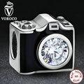 Original 925 sterling silver sentimental instantâneos câmera charme fit pandora pulseira para a mulher preta esmalte jóias diy s182