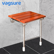 Wall Mounted Shower Solid Wood Shower Seat Stainless Steel Folding Chair Relaxation Bench Saving Space Non-barrier Bathroom цены онлайн