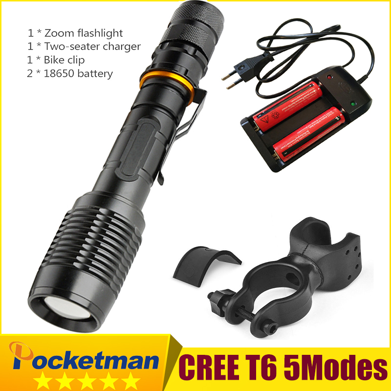 Bike Light 3800LM CREE T6 LED Flashlight Tactical Flashlight LED Torch Lamp Light+ 18650 Battery+ Charger Holder Hiking Camping 10w led tactical flashlight t6 zoom torch waterproof 18650 lanternas practical light for bike lamp cheap sale