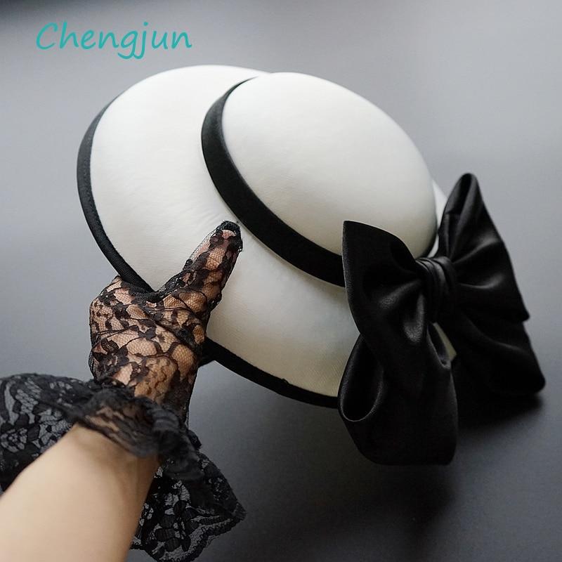 Chengjun New Arrival Elegant Women Black White Wedding Hat With Bow