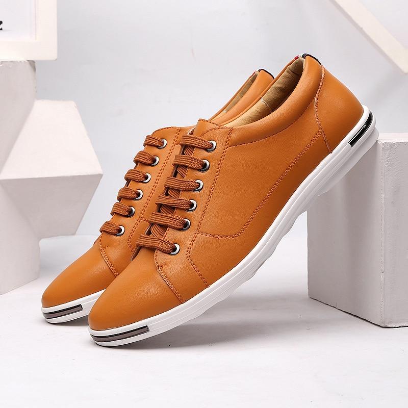 51efc09426 ERRFC Vendas Amarelo Homens Conforto Sapatos Casuais Dedo Do Pé Redondo  Rendas Até branco PU Sapatos de Couro de Lazer Homem Plus Size 11 12 13  Zapatos em ...