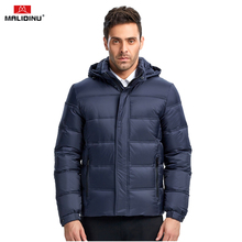 купить MALIDINU 2019 Men Down Jacket Winter Thick Warm Down Coat Brand High Quality 70%White Duck Down Mens Puffer Jacket European Size дешево