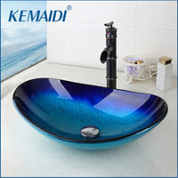 KEMAIDI New Waterfall Spout Basin Black Tap+Bathroom Sink Washbasin Tempered Glass Hand-Painted Bath Brass Set Faucet Mixer Taps