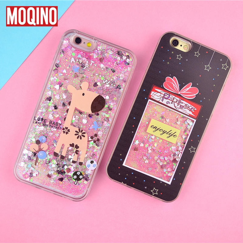 MOQINO For iPhone X 7 Case Glitter Liquid Quicksand Phone Case Gift box Deer Pattern Case for iPhone 8 6splus 6 6S 7/8 plus