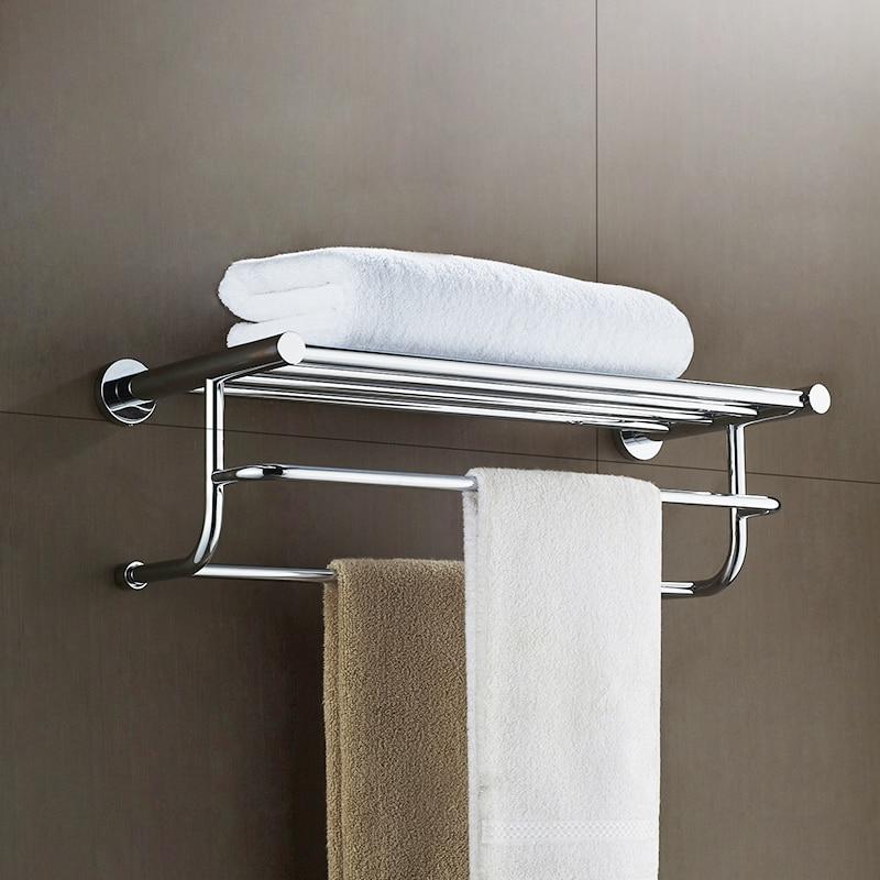 AUSWIND Bathroom towel rack 304 stainless steel polish towel shelf towel bar bathroom hardware pendant 2 layer 304 stainless steel bathroom towel rack bar hangers more