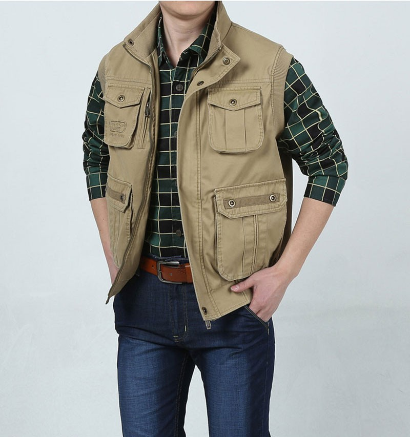 L~7XL 2016 Autumn Spring Brand Clothing Cargo Outdoor Vest Overcoats Men Casual Cotton New Plus Size Sleeveless Jackets Vests (8)