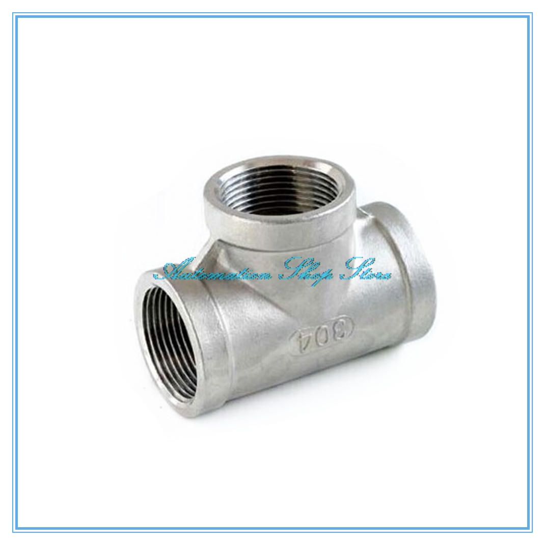 T Shaped Thread 3 Way Equal Tee Coupling SS 304 2 NPT Female Adapter Pipe Fitting