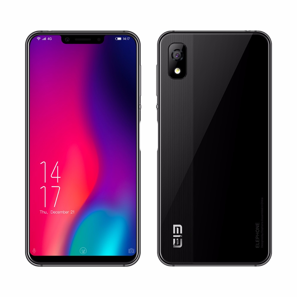 Elephone A4 Pro Smartphone Full Screen 18:9.9 5.85 Inch HD MT6763 Octa Core Fingerprint ID 4GB+64GB 3000mAh 16MP Android Phone