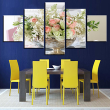 Modular Home Decoration Print Wall Painting Vintage Art 5 Panel Beautiful Flower Picture For Living Room Modern Canvas Poster