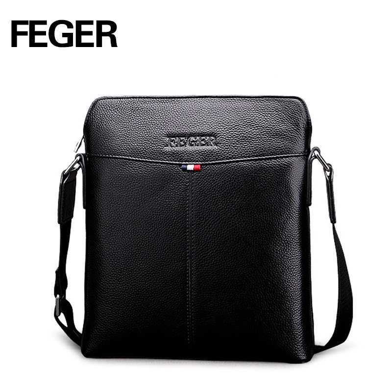 FEGER Genuine Leather Crossbody Bags for Men Messenger Chest Bag 2017 New Fashion Casual Bag Waterproof