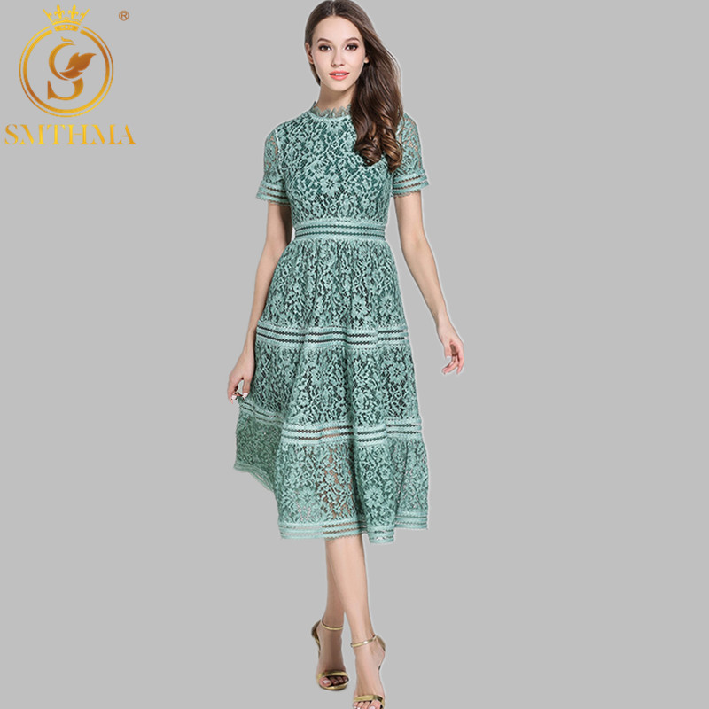 SMTHMA Green/Pink Lace Stitching Hollow Out Summer Dress 2019 Fashion Runway Vestidos Elegant Evening Party Casual Dresses