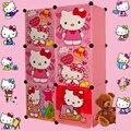 Простой шкаф сочетание магии кусок пластика смолы окружающей Дети hello kitty 6 сетки