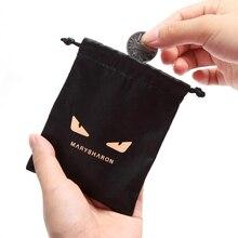 New Small drawstring Eco Shopping Bag Black eyes Jewelry storage bag Zero Purse small cute Palm size Silk and satin