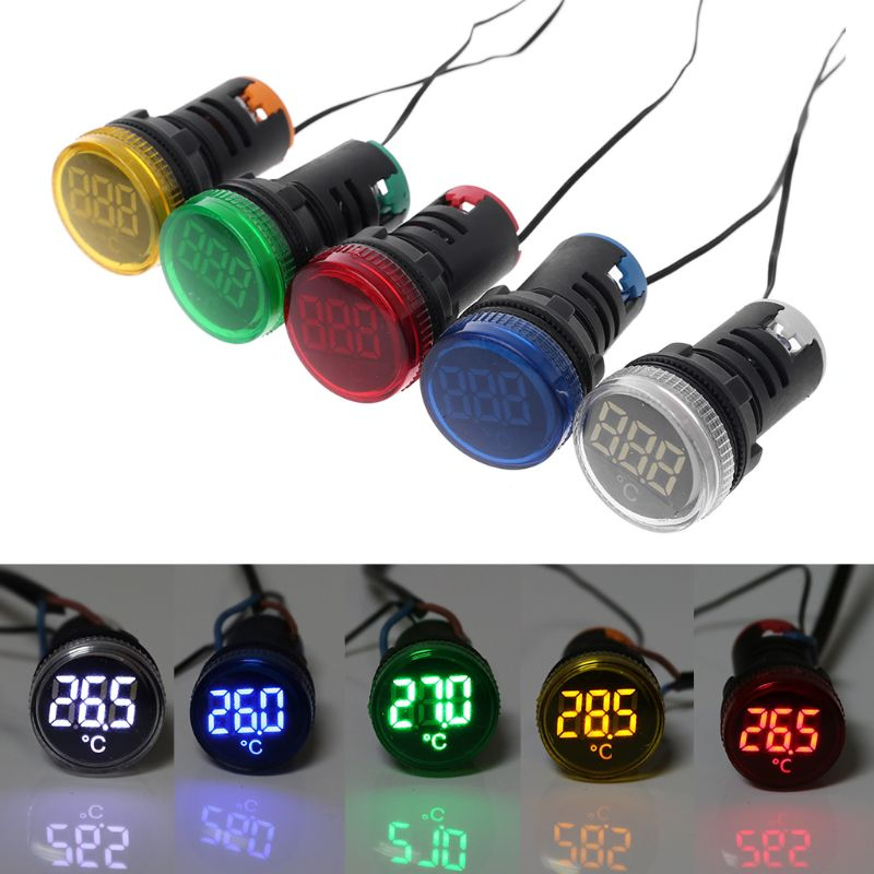 22mm AC 50-380V Thermometer Indicator Light LED Digital Display Temperature Measuring Induction Ranging -20-119℃
