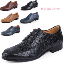 Sycatree 2018 New Crocodile Leather Men's Fashion Casual Shoes Lace-up Dress Shoes Men's Business Boots Super Big Plus Size 50(China)
