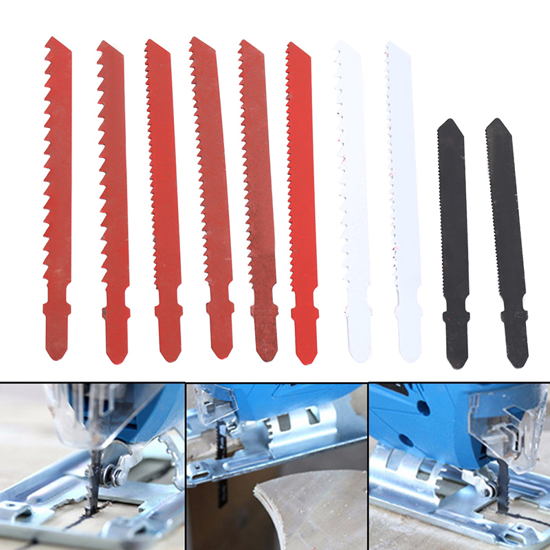 DWZ 10pcs Jigsaw Blades Assortment Set for Bosch T Shank Jig Saw Metal Plastic Wood