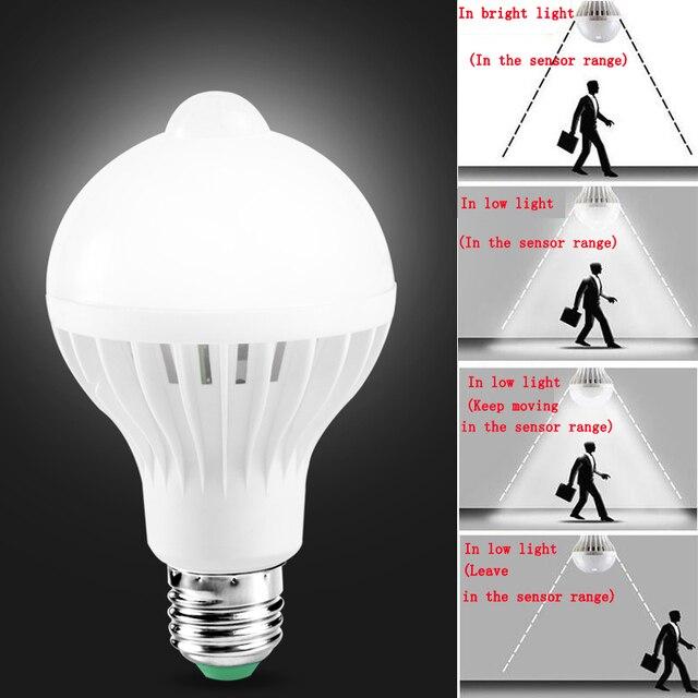 E27 หลอดLedพร้อมMotion Sensor Light 220V 110V PIRหลอดไฟสมาร์ทเด็กNight Light Ampoule Bombillas 5W 7W 9 บ้าน