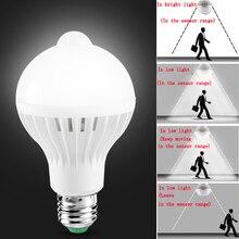 Żarówka Led E27 z lampa z czujnikiem ruchu 220V 110V żarówki PIR inteligentna lampa dziecko lampka nocna ampułka Bombillas 5W 7W 9W oświetlenie domu