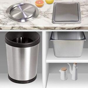 Image 5 - Paslanmaz çelik kapak gömme gömme dahili denge salıncak Flap kapak çöp kutusu çöp kutusu mutfak sayacı üst